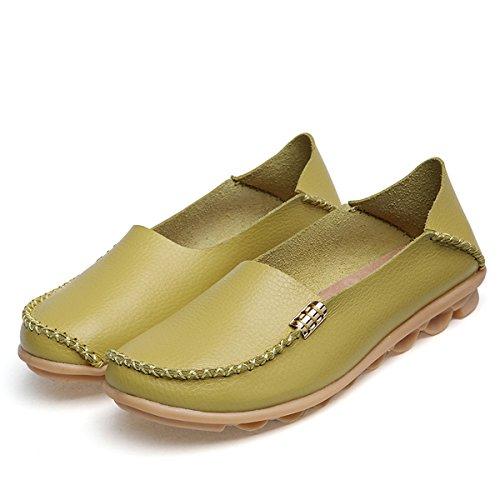 Fisca Damen Tanner Pebbled Drivers Leder Casual Loafer Flache Bootsschuhe Greyish-grün