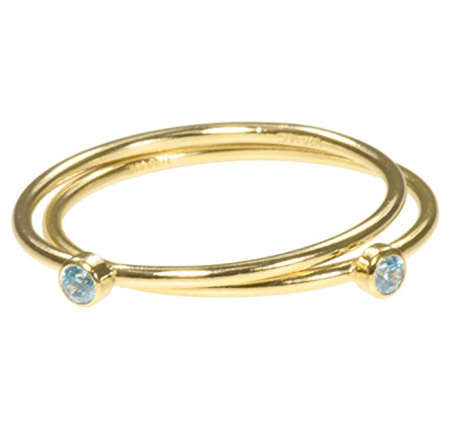 Two Custom Ring Finger (uGems 2 14K Gold Filled Swiss Blue CZ Stacking Rings Size 5)