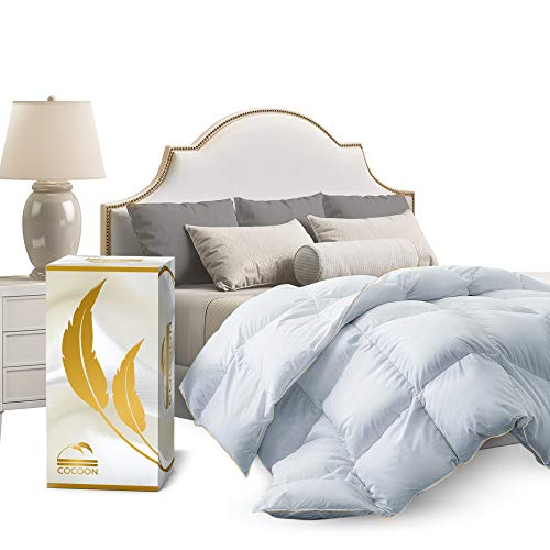 Cocoon Premium Organic Siberian Goose Feathers Queen Size Down Comforter 100% Egyptian Cotton 1200 TC 750+ Fill Power - Luxurious White Quilted All-Season Down-Filled Hypo-Allergenic Bed Duvet Insert
