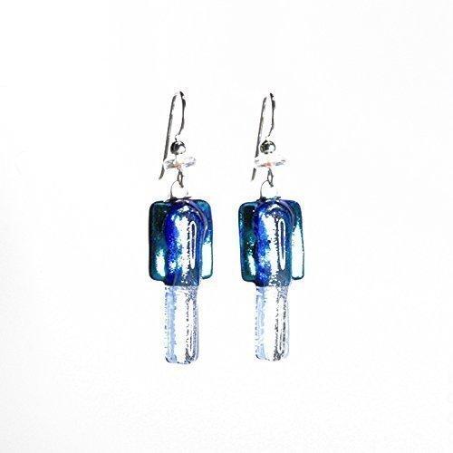 Radium Light Blue Fused Glass Earrings