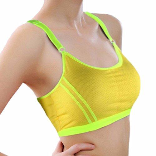 Amlaiworld Gilet donna,Reggiseno sportivo Yoga atletico involucro solido petto cinghia gilet (nero) giallo