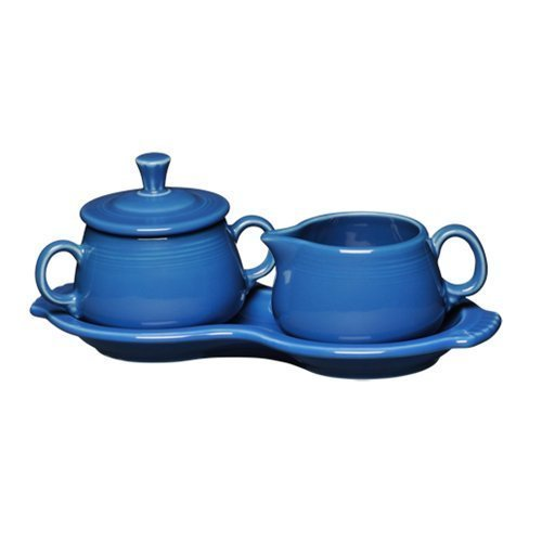 Fiesta Covered Creamer and Sugar Set with Tray, Lapis by Homer Laughlin