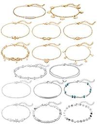 HUASAI Initial Bracelet for Women Danity Engraved 26 Letter Round Coin Disc Alphabet Personalized Name Anklet Bracelet for Girls Birthday Gift