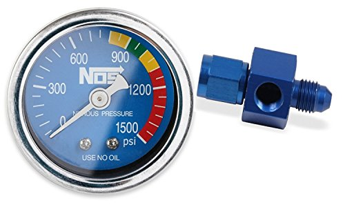 NOS/Nitrous Oxide System 15920NOS Nitrous Pressure Gauge 1.5 in. Dia. Royal Blue Dial Face w/White Needle 0-1500 psi Dry w/-4AN Adapter Nitrous Pressure Gauge