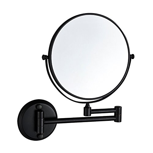 (XJRHB Bathroom Vanity Mirror Folding Hotel Bathroom Rotating Telescopic Mirror Double-Sided Magnification Beauty Mirror Wall Hanging Free Punch (Color : Black))
