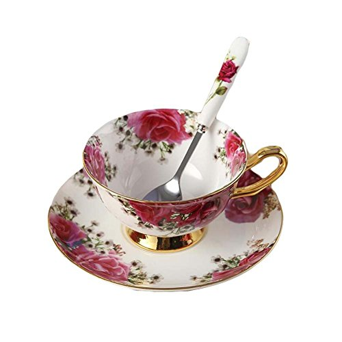 (NDHT Bone China Teacups/Coffee Cup and Saucers Sets with Spoons-10.2Oz, for Home, Restaurants,Rose,With Gift Box)
