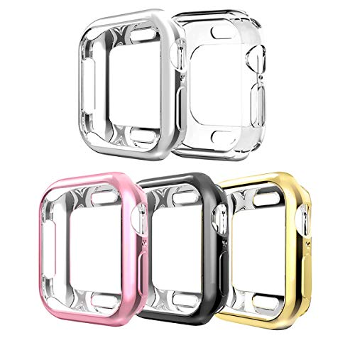 Compatible with Apple Watch Case Series 4 44mm,5 Pack New iWatch TPU Cases Protective Cover Bumper Compatible with 2018 Apple Watch Series 4 (44mm-5Pack)