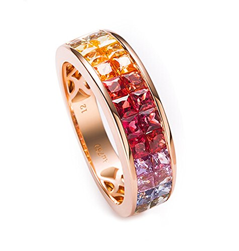 18K Gold Ring,2.5Ct Square Cut Certified Diamond Sapphire Ruby Ring Anniversary Ring for Women Size 7 by Epinki