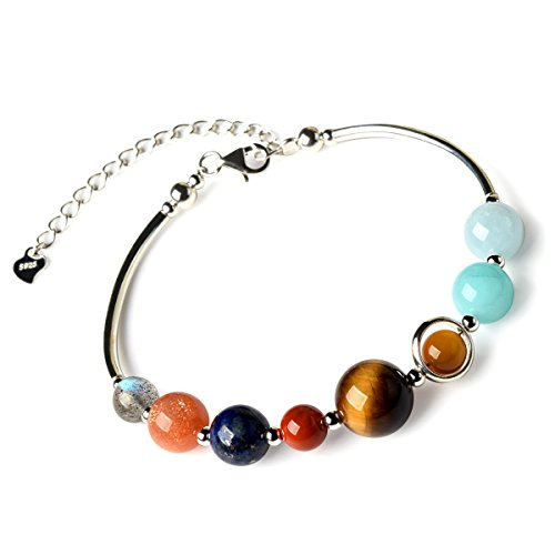 - Jan Dee 925 Sterling Silver Natural Genuine Semi-Precious Solar System Crystals Bracelet