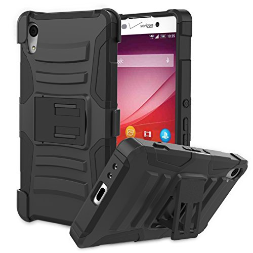 Sony Xperia Z4v Case, MoKo Shock Absorbing Hard Cover Ultra Protective Heavy Duty Case with Holster Belt Clip + Built-in Kickstand for Sony Xperia Z4v 5.2 Inch - Black