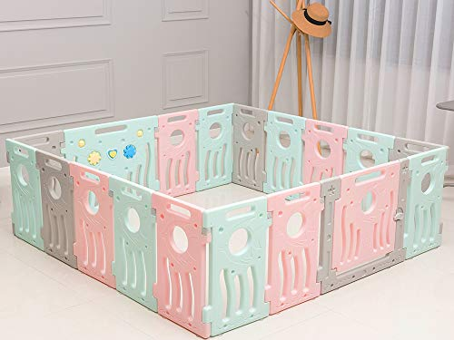 BUCKLAND Baby Playpen Kids Infant Play Yard Toddler Fence (Premium 16+2 Panel Set)