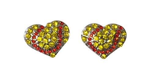 Softball Earrings- Girls Softball Jewelry - Softball Heart Stud Earrings - Perfect Softball Player, Softball Team and Coaches Gifts (Girls Softball Earrings)