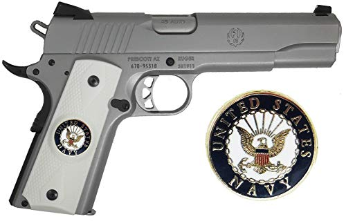 (Garrison Grip 1911 Colt Full Size and Clones with US Navy Medallion Set in Light Ivory Polymer Grips)