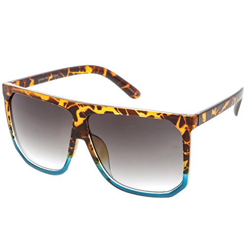 sunglassLA - Oversize Two Toned Flat Top Sunglasses With Square Lens 62mm (Shiny Tortoise Blue / - Tortoise Sunglasses Blue