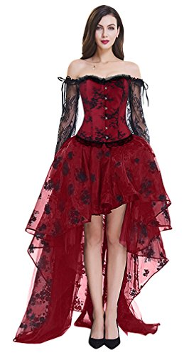 Kimring Women's Steampunk Victorian Elegant Off Shoulder Embroidery Long Sleeves Corset Top with High Low Skirt Set Red XXXXX-Large