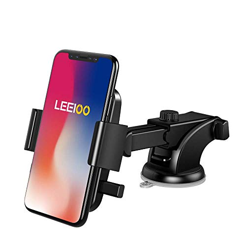 LEEIOO Car Mount Universal Windshield&Dashboard Phone Holder Fit for iPhone Samsung Galaxy Google Huawei and More