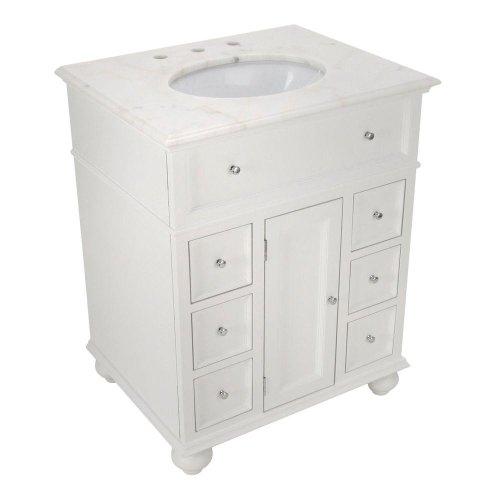 "Hampton Bay 28""w Single Bath Vanity With White Marble Top, W"