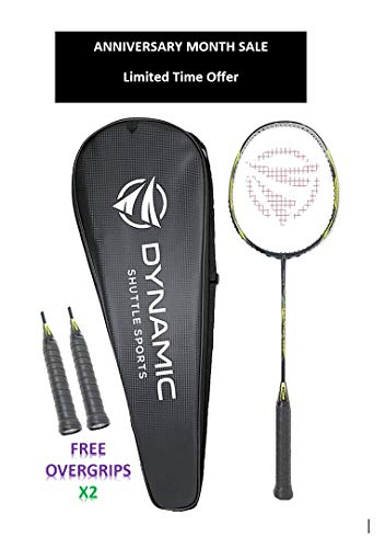Dynamic Shuttle Sports Premium Hyperion KV-100 Carbon Fiber Indoor/Outdoor Professional Badminton Racket - for Both Offensive and Defensive Players, Good for All Levels (Yellow, with Cover)