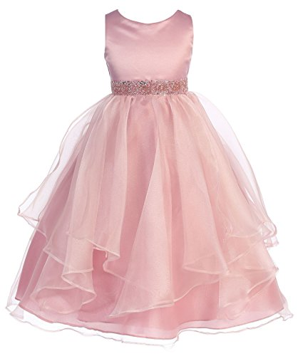 Chic Baby Girls Asymmetric Ruffles Satin/Organza Flower Girl Dress -Rose-2-(CB302)