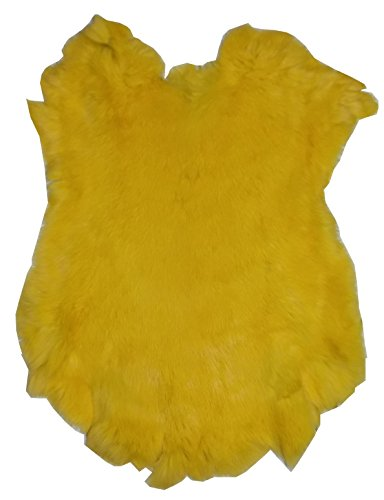 """Dyed Tanned Rabbit Fur Hide - 10"""" by 12"""" Rabbit Pelt With Sewing Quality Leather (Yellow)"""