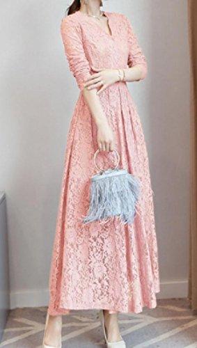 Coolred-femmes Robe De Bal Du Soir Grand Pendule V-cou Partie De Dentelle Casual Robe Maxi Rose