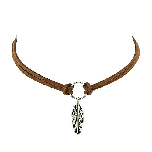 Dastan Elegant Choker Necklace Double Leather Cord Collar Linked Feather Pendant