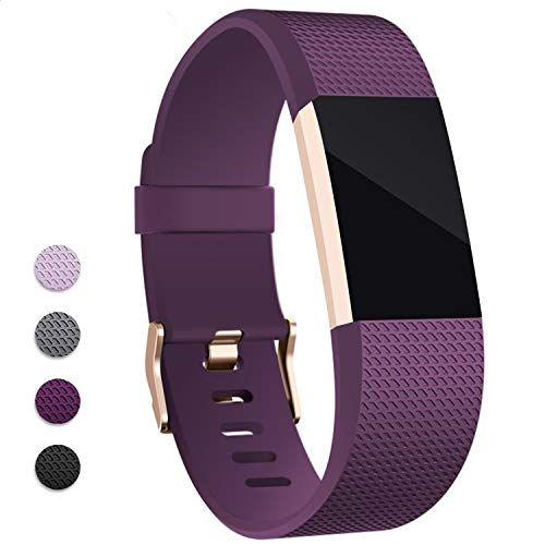Hotodeal Band Compatible Fitbit Charge 2 Band, Classic Soft TPU Adjustable Replacement Bands Fitness Sport Strap, Rose Gold Buckle, Small Purple