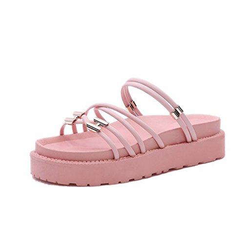 Tongs Plateforme JITIAN Sangles Femmes Slip Sandales Plage Chaussures Rose Claquettes Mules Été Casual on Cq5f7x5wn
