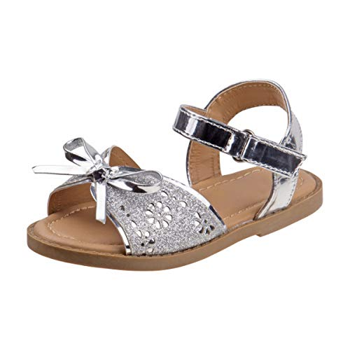 - Rugged Bear Girls Laser Cut Glitter Sandals with Adorable Bow Accent, Silver, Size 6 M US Toddler