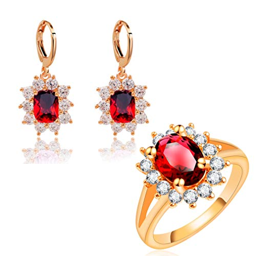 Hisejasa Fashion Flower Wedding Jewelry Sets Russia Women Rose Gold Color Earrings Rings Sets LPG10