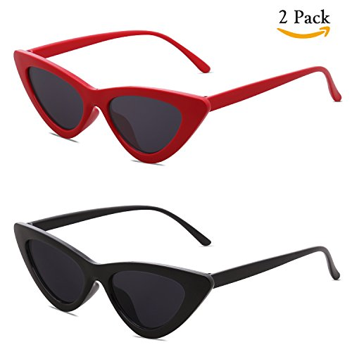 SojoS Clout Goggles Cat Eye Sunglasses Vintage Mod Style Retro Kurt Cobain Sunglasses SJ2044 with Black Frame/Grey Lens + Red Frame/Grey Lens 2 Pairs of - Sunglasses 60s