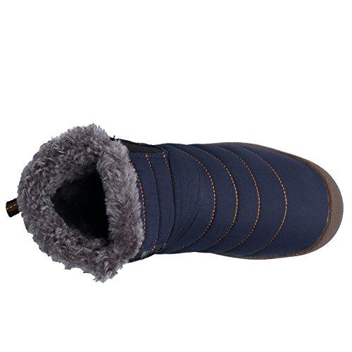 Botas Boots de DAFENP Nieve Al Botines Fur Zapatos Calentar Libre Hombre Botas Azul2 Invierno Aire qOrtOA