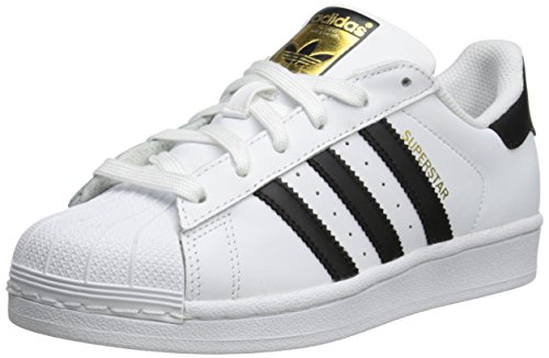 adidas Originals Superstar J Casual Low-Cut Basketball Sneaker (Big Kid),White/Black/White,5.5 M US Big Kid