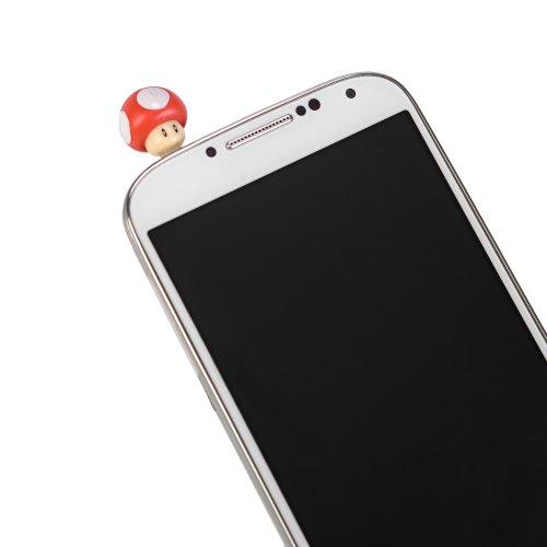 Super Mario Bros Smartphone Audio Jack Dust Plug Cover - Red Mushroom