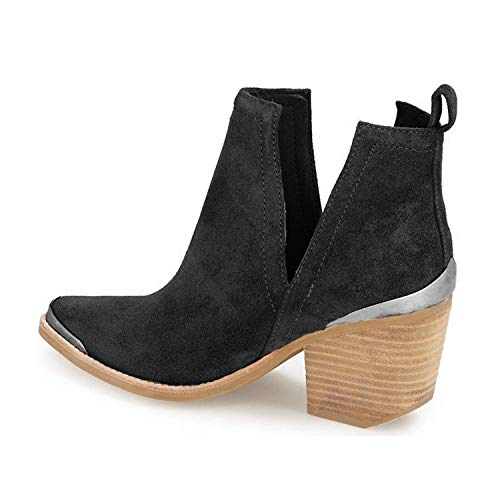 with Booties Toe Shoes YDN Boots Cut Stacked Low Ankle Out Women Faux Heel Black Suede Metal 66w7UqT