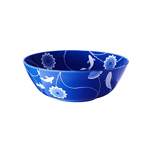 ZENS Bone China Noodle Soup Bowl, 51OZ Large Pasta Salad Bowls, Deep Blue Floral Mixing Serving Bowl for Wedding Housewarming Mother's Day Gifts.