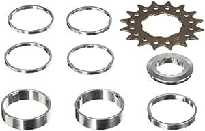 Point - Juego de piñones y distanciadores (acero CrMo, aluminio, 4 x 3 mm, 1 x 5 mm, 2 x 10 mm) plateado/negro Talla:15 Zähne