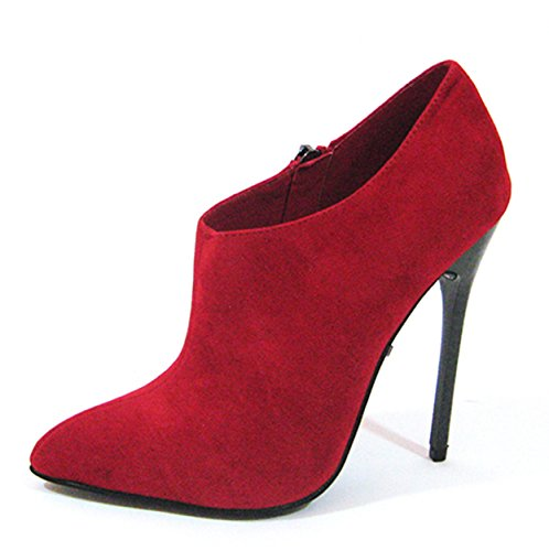 Highest PU Fierce 14 M US Red 91 Suede Bootie Heel Women's 0rqwzxU0