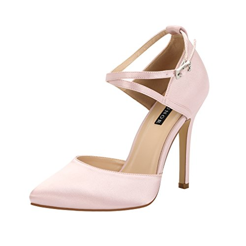 Satin Pumps Heel Dress Women ERIJUNOR Prom Blush Evening High Ankle Shoes Wedding Strap 0q0fSXw