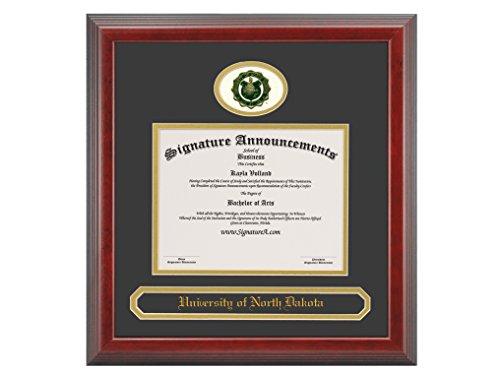 Signature Announcements University of North Dakota (UND) Undergraduate and Graduate Graduation Diploma Frame with Sculpted Foil Seal & Name (Cherry, 16 x 16)