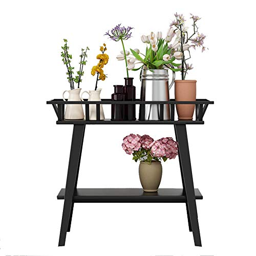 XJJUN Plant Flower Stand Garden Groove Type Trapezoidal Foot Column 2 Layer Strong Load Bearing Capacity Metal Durable Indoor, 2 Colors (Color : Black, Size : 60x25x75cm) ()