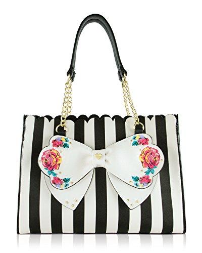 Betsey Johnson Lily (Betsey Johnson Scalloped Top, Striped Tote Purse / Handbag, Detachable Pouch)