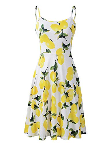 Petite Dresses for Women, Koscacy Flare Dresses for Women Ladies Scoop Neck Loose Summer Sleeveless Dress Misses Flowy Yellow Lemon Floral Sundresses Girls Casual Dating Cocktail Stretchy Cami Dress M