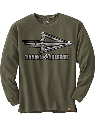 Legendary Whitetails Men's Drawn to Release T-Shirt Army Medium (Best Broadheads For Whitetail)