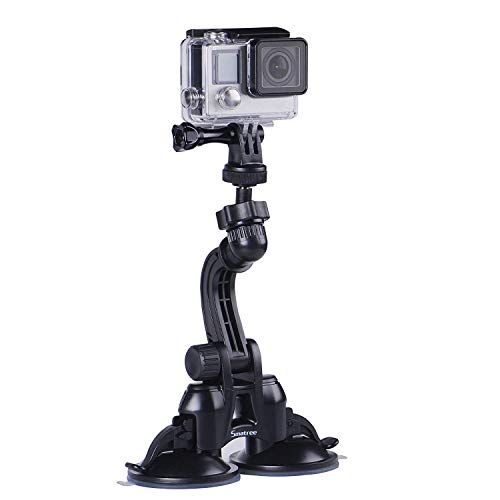 Smatree Double Suction Cup Mount with Greater Suction Power Compatible for GoPro Hero 7/6/5/4/3+/3/2/1/ Hero Session/for DJI OSMO Action Camera