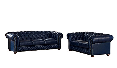 Coja by Sofa4life Pinehurst Leather Sofa and Loveseat Set, Blue ()