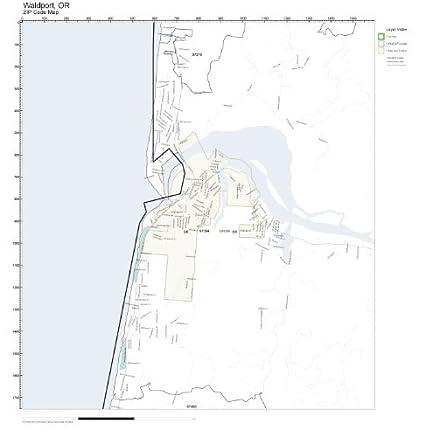 Amazon Com Zip Code Wall Map Of Waldport Or Zip Code Map Laminated