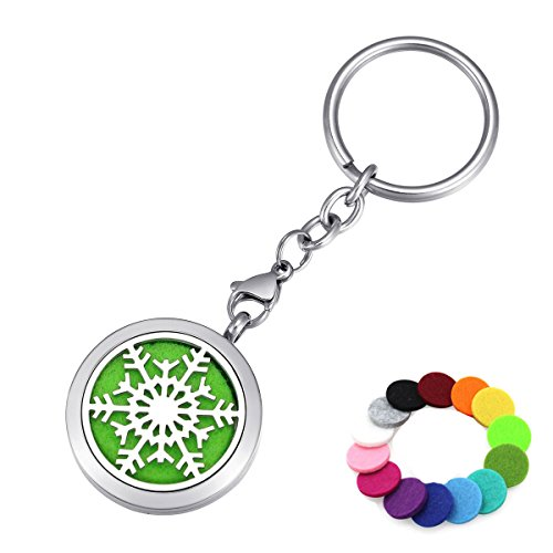 Aromatherapy Essential Oil Diffuser Key Chain Ring, Christmas Snowflake Stainless Steel Locket Pendant Keychain, 14 Refill Pads ()