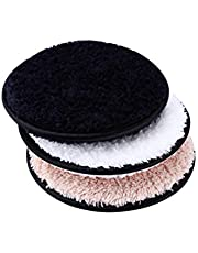 Frcolor 3pcs Makeup Remover Cloth Towels Facial Puffs Washable Face Cleansing Plush Makeup Remover Pads (White + Coffee + Black)