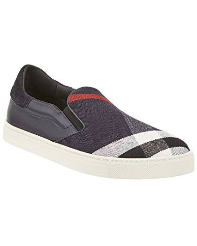 Burberrys Canvas Check & Leather Slip-On Trainer, 40, Blue